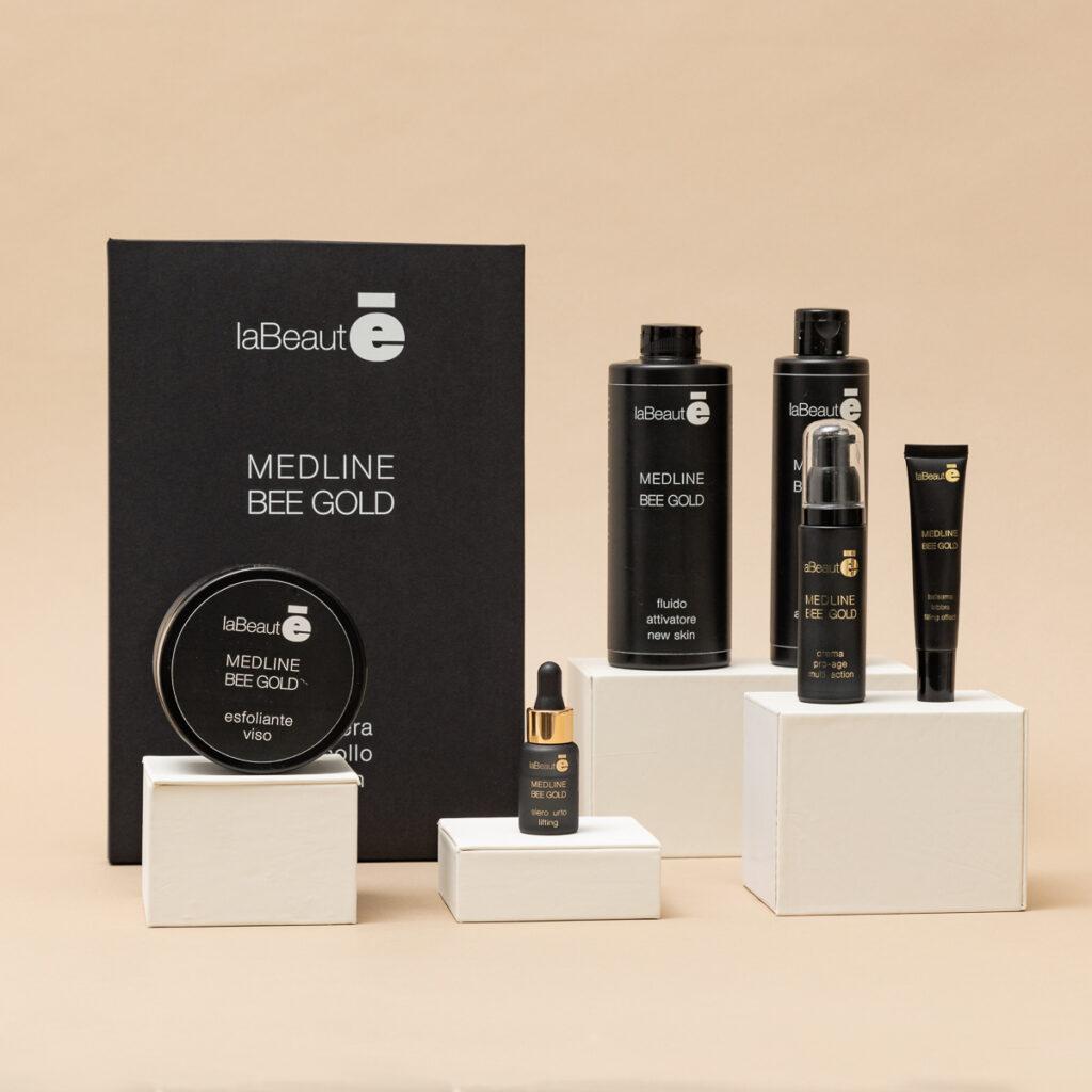Esposizione prodotti bellezza Medline Bee Gold - La Beautè